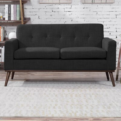 Wargo Mid Century Modern Loveseat Upholstery: Dark Gray