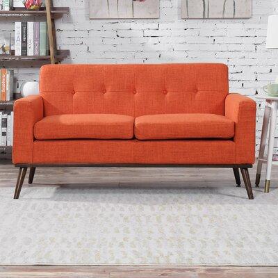 Wargo Mid Century Modern Loveseat Upholstery: Orange