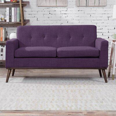 Wargo Mid Century Modern Loveseat Upholstery: Purple