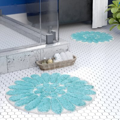 Cressona Bursting Flower 2 Piece Bath Rug Set Color: White / Aqua