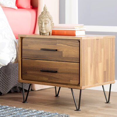 Wolfe 2 Drawer Nightstand Color: Walnut