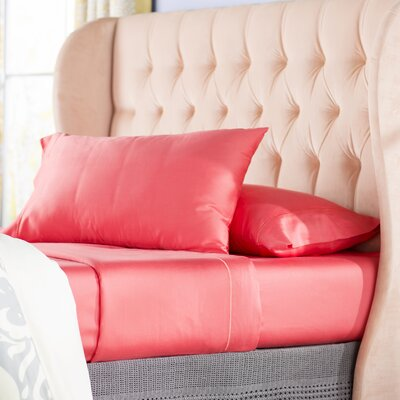 Ouatchia 300 Thread Count 100% Cotton 4 Piece Sheet Set Size: Queen, Color: Coral