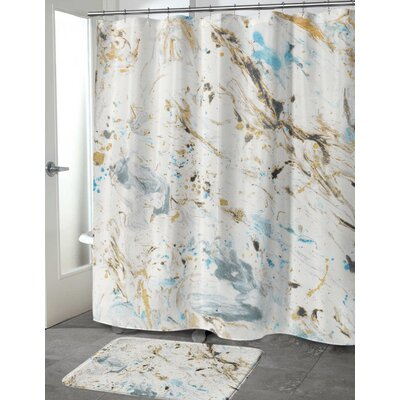 Wallenstein Marbled Shower Curtain Size: 72 H x 70 W