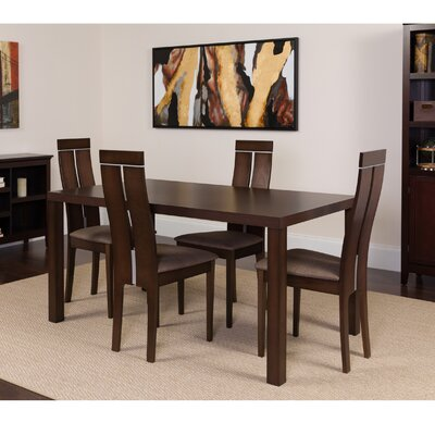 Hubler 5 Piece Dining Set Color: Espresso