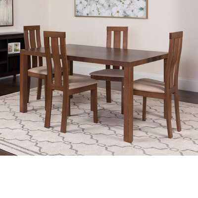 Hudson Square 5 Piece Dining Set Color: Walnut
