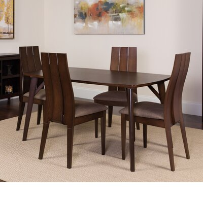 Huggins 5 Piece Dining Set Color: Espresso