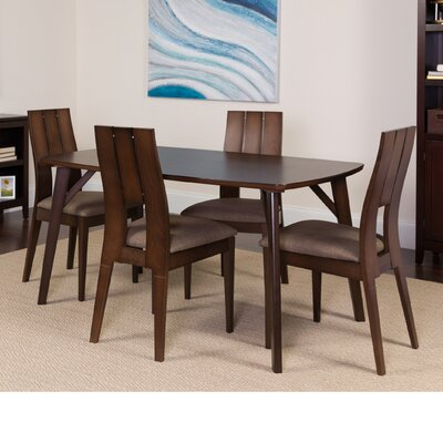 Huguenot 5 Piece Dining Set Color: Espresso