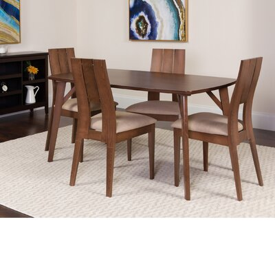 Huguenot 5 Piece Dining Set Color: Walnut