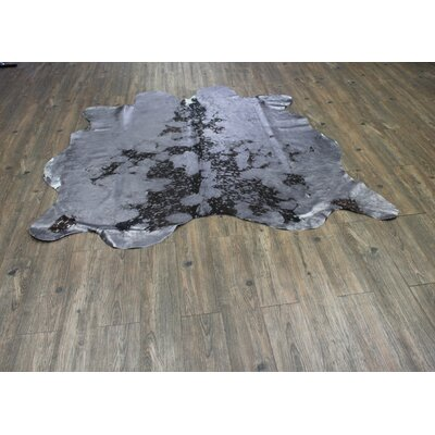 One-of-a-Kind Papke Hand-Woven Cowhide Gray Area Rug