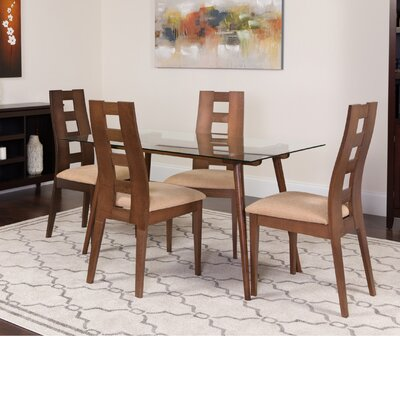 Hunley 5 Piece Dining Set Color: Walnut