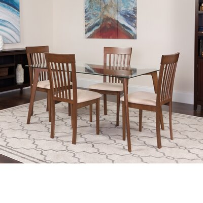 Hyden 5 Piece Dining Set Color: Walnut