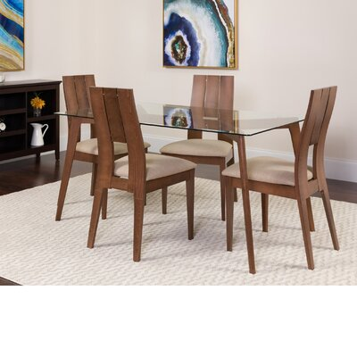 Hutzler 5 Piece Dining Set Color: Walnut