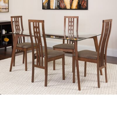 Hutsell 5 Piece Dining Set Color: Walnut