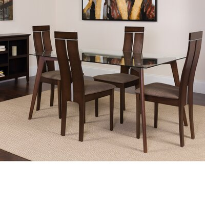 Hust 5 Piece Dining Set Color: Espresso