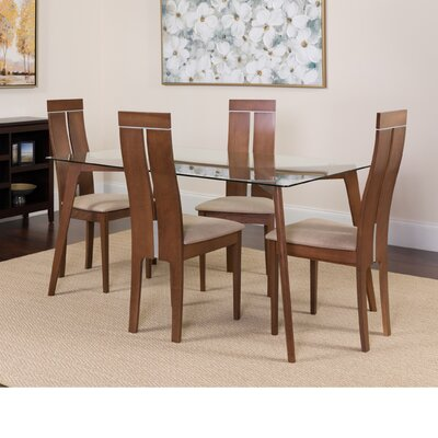 Hust 5 Piece Dining Set Color: Walnut