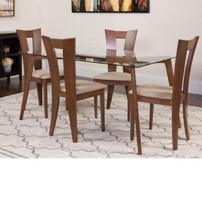 Huson 5 Piece Dining Set Color: Walnut