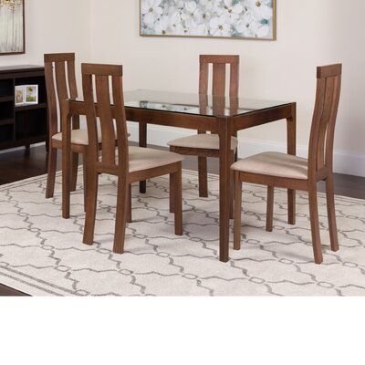 Huskins 5 Piece Dining Set Color: Walnut