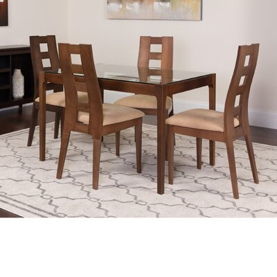 Husby 5 Piece Dining Set Color: Walnut
