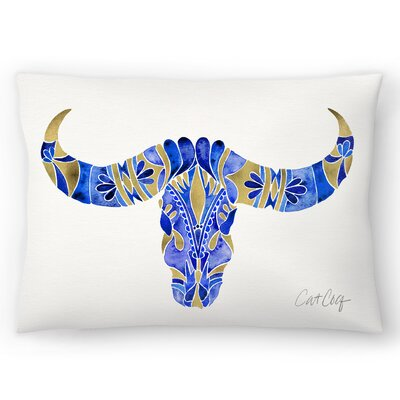 Water Buffalo Skull Lumbar Pillow Size: 14 x 20, Color : Navy/Gold