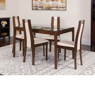 Hursey 5 Piece Dining Set Color: Espresso