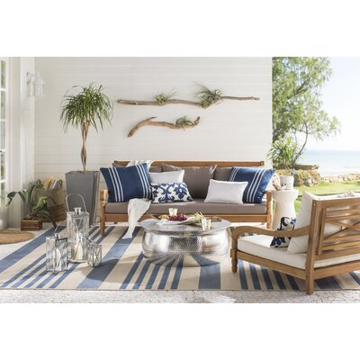 Branan Square Knife Edge Indoor/Outdoor Throw Pillow Size: 20 H x 20 W x 6 D, Color: Dark Blue