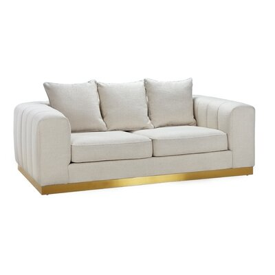 Beja Loveseat Upholstery: White/Gold