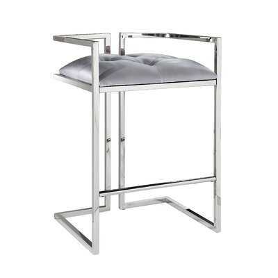Jamarion Arthur Counter Bar Stool Upholstery: Silver