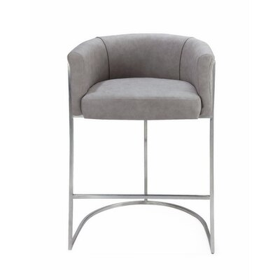 Leugers Counter Bar Stool Upholstery: Light Gray