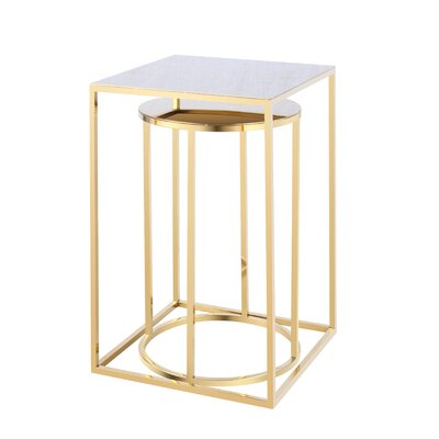 Neuman Brock 2 Piece Nesting Tables Color: Gold