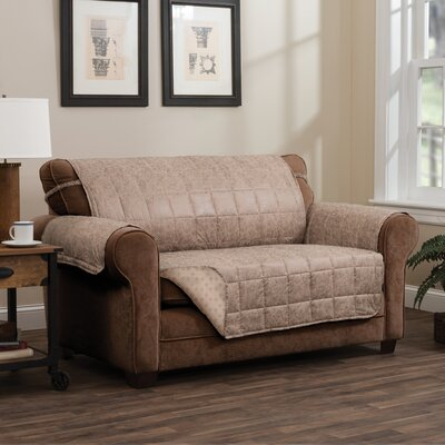T-Cushion Sofa Slipcover Size: 0.25 H x 110 W x 75.5 D, Upholstery: Natural
