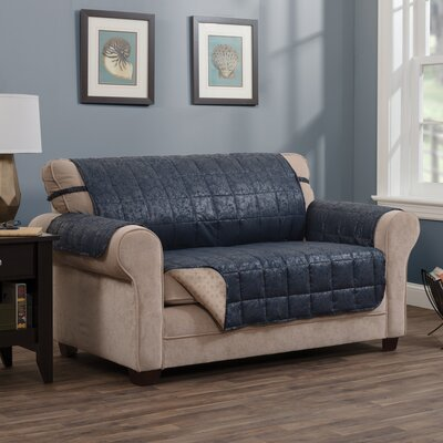 T-Cushion Sofa Slipcover Size: 0.25 H x 110 W x 75.5 D, Upholstery: Navy