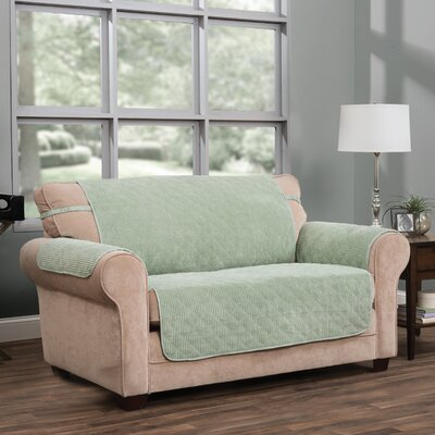 T-Cushion Loveseat Slipcover Upholstery: Green