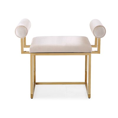 Ingle Ottoman Upholstery: White, Color: Gold