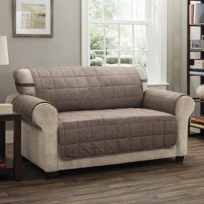 T-Cushion Loveseat Slipcover Upholstery: Brown