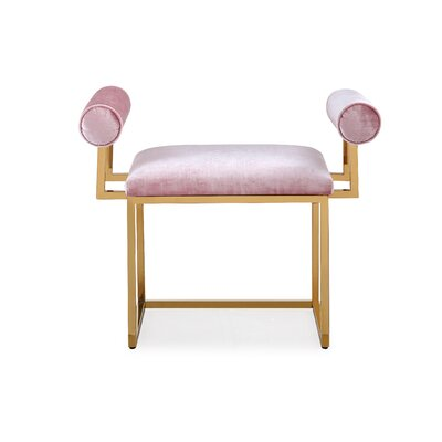 Ingle Ottoman Upholstery: Pink, Color: Gold