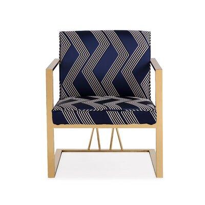Jakubowski Elias Armchair Upholstery: Blue, Finish: Gold