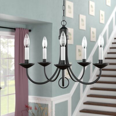 Graham 5-Light Candle-Style Chandelier Finish: Black