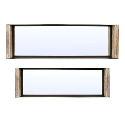 Silver Oaks 2 Piece Metal Shadow Boxes Mirror Set 3C49097C896847AF83250059EBC4004B
