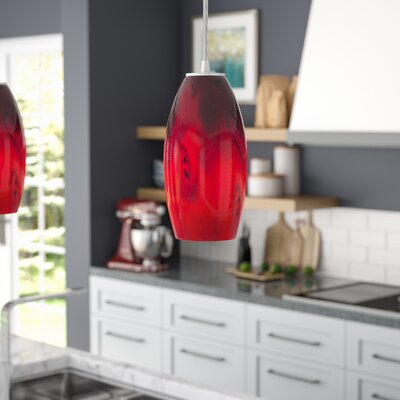 Banton 1-Light Pendant Finish: Brushed Steel, Shade Color: Red Sky, Stem Type: Cord