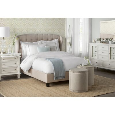 Felisa Upholstered Panel Bed Color: Beige, Size: Queen