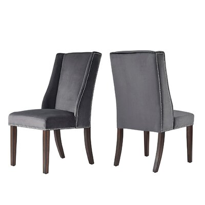 Killough Hostess Wingback Chair Upholstery: Dark Grey