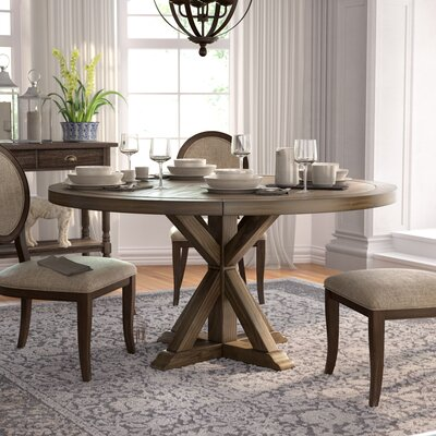 Armancourt Reclaimed Wood Round Dining Table Size: 30 H x 60 L x 60 D, Finish: Smoke