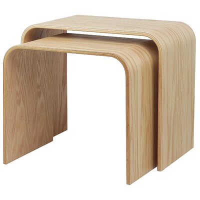 Drewry Bentwood 2 Piece Nesting Tables Color: Oak