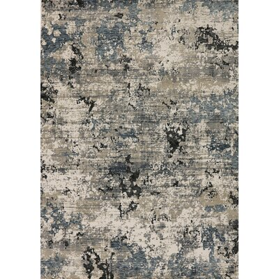 Rademacher Cream/Blue Area Rug Rug Size: Rectangle 53 x 76