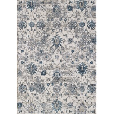 Rademacher Cream/Blue Area Rug Rug Size: Rectangle 26 x 4