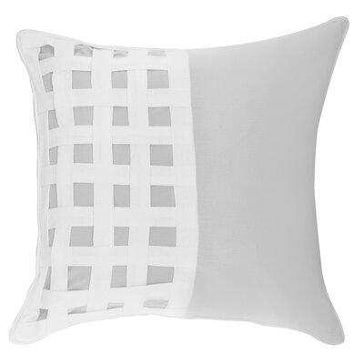 Dariell Basketweave Cotton Throw Pillow Color: Gray/White