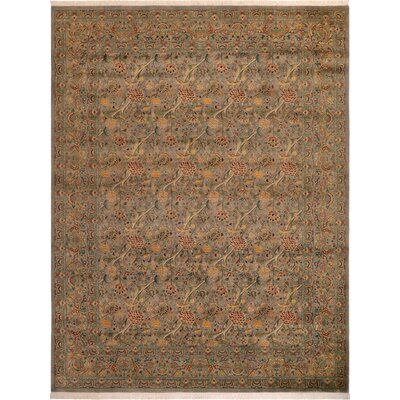 One-of-a-Kind Delron Hand-Knotted Wool Gray/Red Area Rug