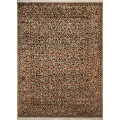 One-of-a-Kind Delron Hand-Knotted Wool Light Gray/Light Tan Area Rug
