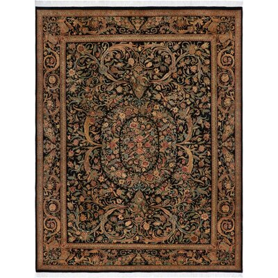 One-of-a-Kind Delron Hand-Knotted Wool Black/Rose Area Rug