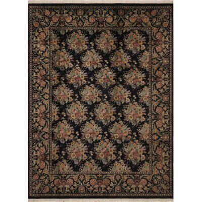 One-of-a-Kind Delron Kashan Hand-Knotted Wool Black/Gold Area Rug